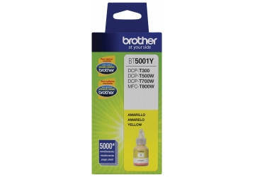 Botella de tinta Brother BT5001Y amarillo, compatible con DCP-T300, DCP-T500W, DCP-T700W, MFC-T800W, original. Rendimiento 5000 paginas aprox. Contenido 41.8 ml