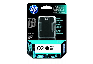 Cartucho Inkjet HP C8721WL (#02) negro, compatible con Photosmart 3108, 3110, 3210, 3310 All in One Series, C5100 All in One Series, C5180, 7180 All in One Series, 8200 Series, 8250, 8230, C6180, C6280, C7280, D7160, D7360, original, contenido 10 ml.