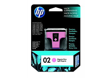 Cartucho Inkjet HP C8775WL (#02) magenta claro, compatible con Photosmart 3108, 3110, 3210, 3310 All in One Series, C5100 All in One Series, C5180, 7180 All in One Series, 8200 Series, 8250, 8230, C6180, C6280, C7280, D7160, D7360, original, contenido 6 ml. Rendimiento 350 pag. aprox.