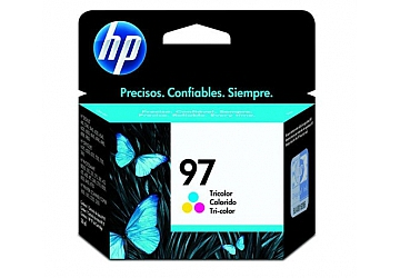 Cartucho Inkjet HP C9363WL (#97) color, compatible con DeskJet 460/5740/5940/6520/6540/ 6620/6830/6840/6940/6980/6988/9800; Multifunción 1600/1610/2350/2355; PhotoSmart B8350/325/335/375B compactas/385/422/425/428/475/2610/ 2710 All in One Series/8050/8150/8450/8750; OfficeJet 7110/7130/7310/7140xi/d125xi/d135/ d145/d155xi/H470/6200/6210/7210/7410; Color InkJet Printer cp 1160 series, original, rendimiento 450 páginas aprox., contenido 14 ml.