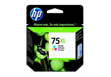 Cartucho Inkjet HP CB338WL (#75XL) color large, compatible con DeskJet D4260, PhotoSmart C4240, C4250, C4280, C4285, C4345, C4380, C4385, C4440, C4450, C4480, C5240, C5250, C5280, C5580, D4360, D5345, D5360, OfficeJet J5750, J5780, J6450, J6480, original,  contenido 12 ml.