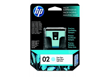 Cartucho Inkjet HP C8774WL (#02) cyan claro, compatible con Photosmart 3108, 3110, 3210, 3310 All in One Series, C5100 All in One Series, C5180, 7180 All in One Series, 8200 Series, 8250, 8230, C6180, C6280, C7280, D7160, D7360, original, contenido 6 ml. Rendimiento 350 pag. aprox.