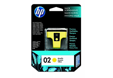Cartucho Inkjet HP C8773WL (#02) amarillo, compatible con Photosmart 3108, 3110, 3210, 3310 All in One Series, C5100 All in One Series, C5180, 7180 All in One Series, 8200 Series, 8250, 8230, C6180, C6280, C7280, D7160, D7360, original, contenido 6 ml. Rendimiento 350 pag. aprox.