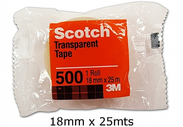 Cinta adhesiva Scotch Nro. 500, 18 mm x 25 mts. Diametro interior: 2.5 cm