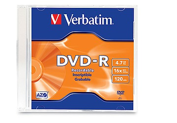 DVD-R Verbatim 4.7GB Data Life Plus, velocidad 16X, Doble lado, con capa de metal azo que asegura la calidad de almacenamiento de datos, compatible con los grabadores Pioneer, DVD-Rom y DVD Video, ideal para almacenar datos, videos, audio y gráficos.