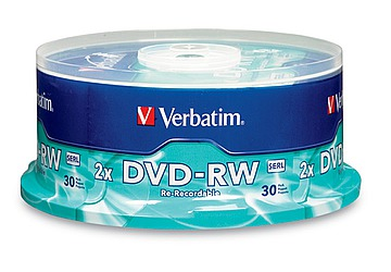 DVD-RW Verbatim regrabable 4.7GB Data Life Plus, velocidad 2X, Bulk x 30 unidades