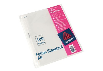 Folio Avery Standard Carta/A4 Polipropileno, 50 micrones. Borde blanco. Multiples perforaciones