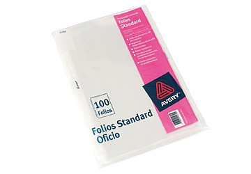 Folio Avery Standard Oficio Polipropileno, 50 micrones. Borde blanco. Multiples perforaciones