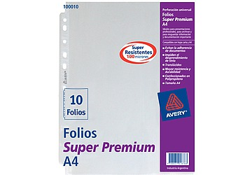 Folio Avery Super Premium Carta/A4 Poliprop, 100 micrones. Borde blanco. Multiples perforaciones