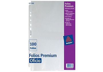 Folio Avery Super Premium Oficio Poliprop, 100 micrones. Borde blanco. Multiples perforaciones