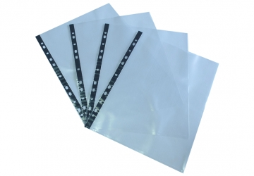 Folio Carta/A4 pesado polipropileno c/borde negro. Multiples perforaciones