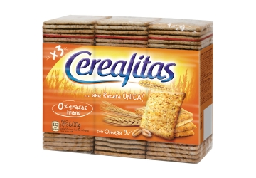 Galletitas Cerealitas 600grs, pack familiar, pack x 3 unidades