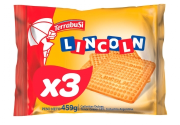 Galletitas Lincoln 459grs, pack familiar, pack x 3 unidades