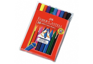 Marcador Faber Castell Grip x 10 colores. Punta de0.7mm.Colores brillantes. Tinta lavable.
