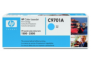 Toner HP C9701A compatible con LaserJet Color 1500 (serie)/2500 (serie), original. Color cyan, rendimiento 4000 páginas