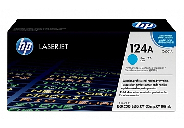 Toner HP Q6001A, compatible con LaserJet Color 1600 / 2600 (serie) / CM1015 / CM1017, original, Color cyan, rendimiento 2000 páginas