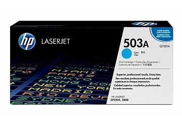 Toner HP Q7581A, compatible con LaserJet Color CP3505 serie / 3800 serie, original, Color cyan, rendimiento 6000 páginas