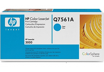 Toner HP Q7561A, compatible con LaserJet Color 3000 (serie), original, Color cyan, rendimiento 3500 páginas