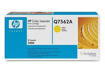 Toner HP Q7562A, compatible con LaserJet Color 3000 serie, original, Color amarillo, rendimiento 3500 páginas
