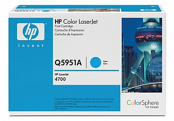 Toner HP Q5951A, compatible con LaserJet Color 4700 (serie), original, Color cyan, rendimiento 10000 páginas