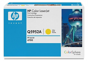 Toner HP Q5952A, compatible con LaserJet Color 4700 (serie), original, Color amarillo, rendimiento 10000 páginas