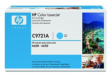 Toner HP C9721A, compatible con LaserJet Color 4600 (serie) / 4650 (serie), original, Color cyan, rendimiento 8000 páginas