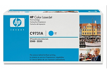 Toner HP C9731A, compatible con LaserJet Color 5500 (serie) / 5550 (serie), original, Color cyan, rendimiento 12000 páginas