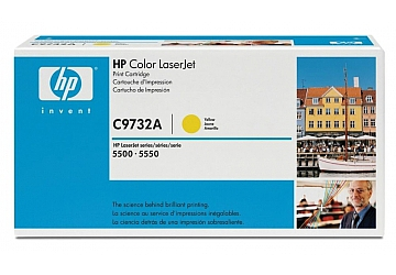 Toner HP C9732A, compatible con LaserJet Color 5500 (serie) / 5550 (serie), original, Color amarillo, rendimiento 12000 páginas